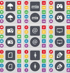 Umbrella keyboard gamepad projector mail monitor vector