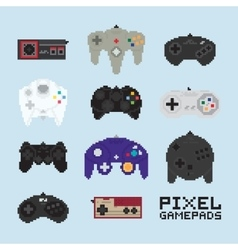 Pixel art isolated gampads vector