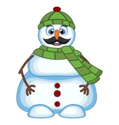 Snowman with mustache wearing green head cover and vector
