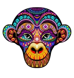 Monkey head 2016 tribal colorful design it may vector