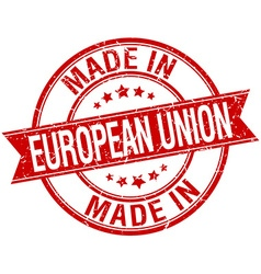 Made in european union red round vintage stamp vector