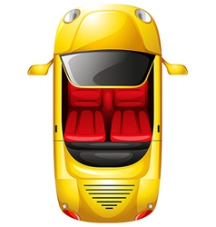 A topview of a yellow car vector image