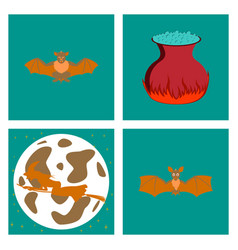 assembly flat potion cauldron bat full moon witch vector image vector image
