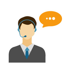 call center male avatar icon with speech bubble vector image vector image