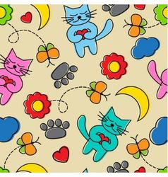 Cartoon seamless pattern with cats vector