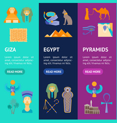 cartoon symbol of egypt banner vecrtical set vector image vector image