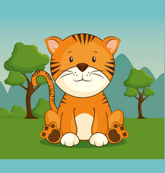 Cute adorable tiger animal cartoon vector