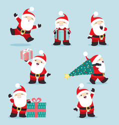 cute little santa claus christmas set 3 vector image vector image