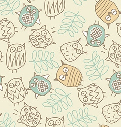 Cute owls in a seamless pattern vector