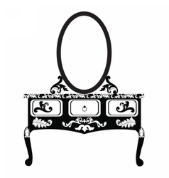 Dressing table with mirror vector image