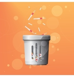 Dustbin for drugs and cigarettes vector image