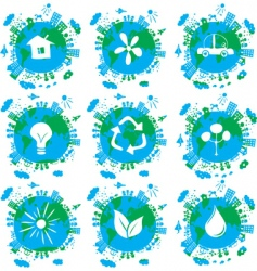 ecological planet icons vector image vector image