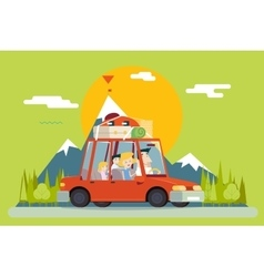 Family father mother son daughter travel lifestyle vector