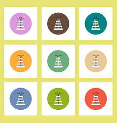 Flat icons set of oil rig concept on colorful vector