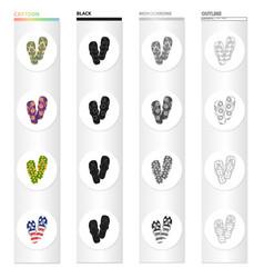 Flip-flops cartoon black monochrome outline icons vector