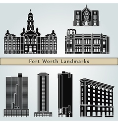 Fort worth landmarks and monuments vector