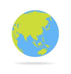 Green and blue cartoon world map globe vector