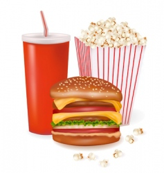 hamburger and popcorn vector image vector image
