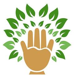 hand tree symbol vector image vector image