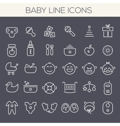 Inline baby icons collection vector