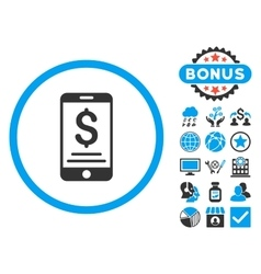 Mobile Wallet Flat Icon with Bonus vector image vector image