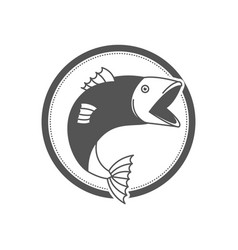 monochrome silhouette circular emblem with fish vector image