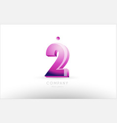 Number 2 two black white pink logo icon design vector