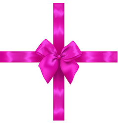 Pink realistic bow with ribbons vector