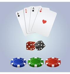 Poker set with playing cards dices and chips vector