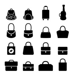 Set of bag icons in silhouette style vector