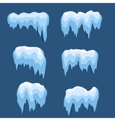 Set of Isolated snow cap Snowy elements on winter vector image