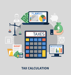 tax calculation flat composition vector image