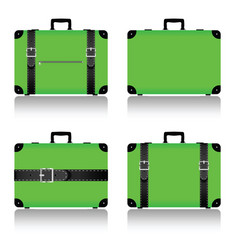 Travel suitcase set in green vector