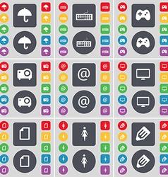 Umbrella Keyboard Gamepad Projector Mail Monitor vector image vector image