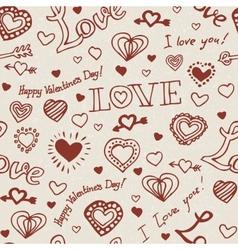 Valentine hand drawn pattern vector image vector image