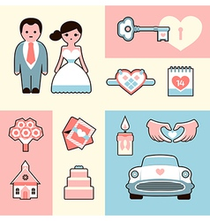 Wedding flat set vector image vector image