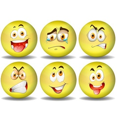 Yellow ball expressions emoticons vector
