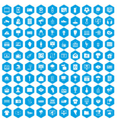 100 tv icons set blue vector