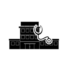 Hospital and stethoscope icon vector