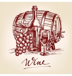 Collection wine hand drawn llustration vector