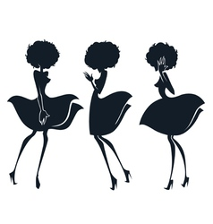 collection of girl silhouettes in disco sty vector image