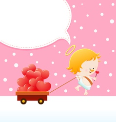 Cupid delivering love vector