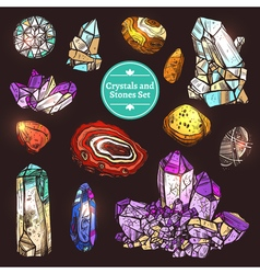 Set Of Icons Crystals Stones vector image