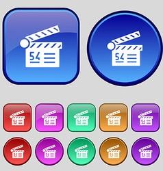Cinema movie icon sign A set of twelve vintage vector image