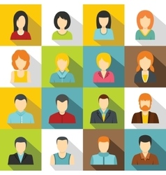 Various people icons set flat style vector image