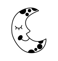 Moon with stars isolated icon vector