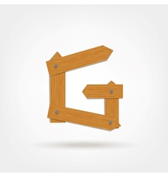 Wooden boards letter g vector