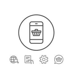 Mobile shopping cart line icon online buying vector