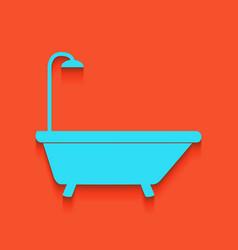 Bathtub sign  whitish icon on brick wall vector