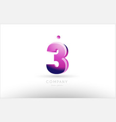 Number 3 three black white pink logo icon design vector